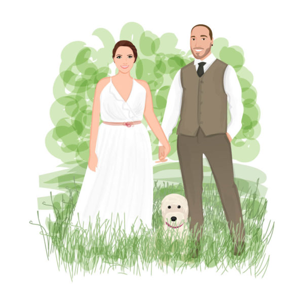 Wedding illustration happy couple