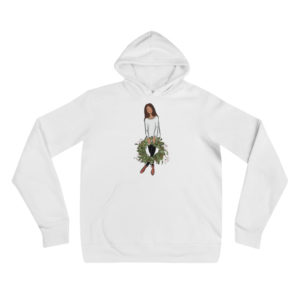 Girl's holding holiday wreath Unisex hoodie