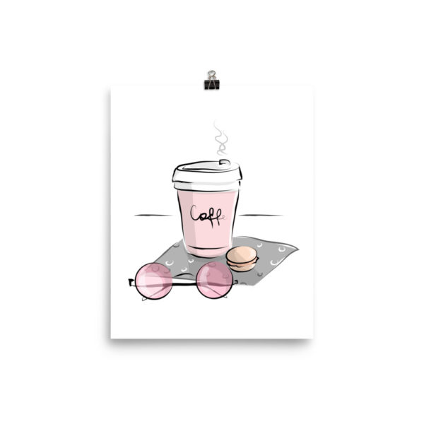 Coffee and Pink Glasses Poster
