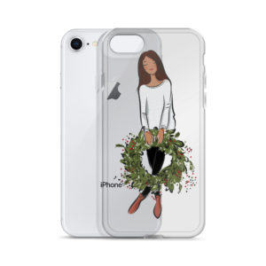 Girl's holding holiday wreath iPhone Case