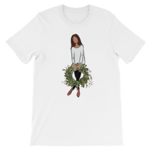 Girl's holding holiday wreath Short-Sleeve Unisex T-Shirt