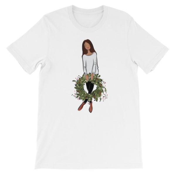 Girl's holding holiday wreath Short-Sleeve Unisex T-Shirt