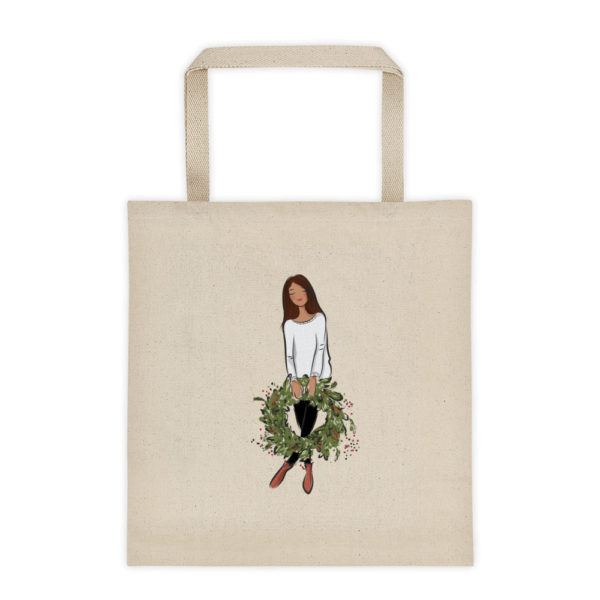 Girl's holding holiday wreath Tote bag