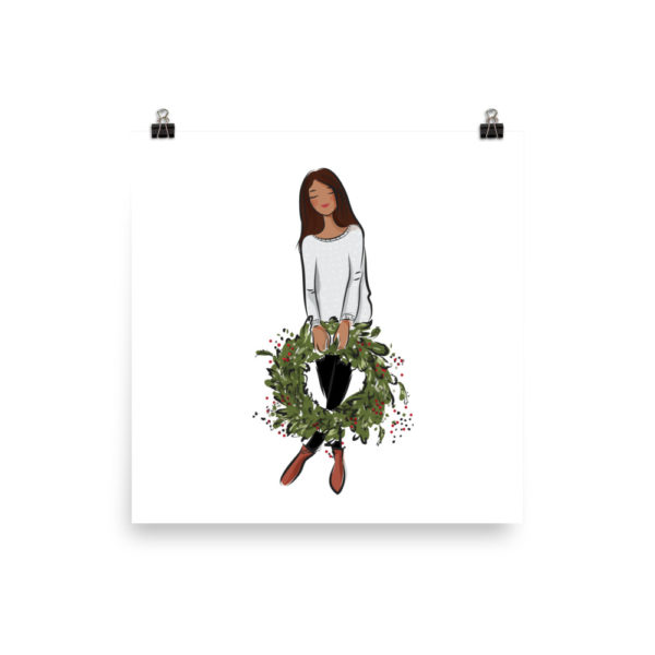 Girl's holding holiday wreath Poster