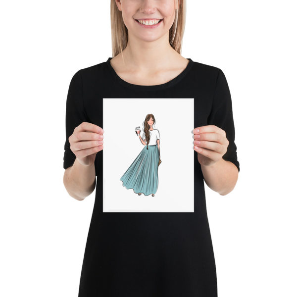 Blue Skirt and Coffee Poster