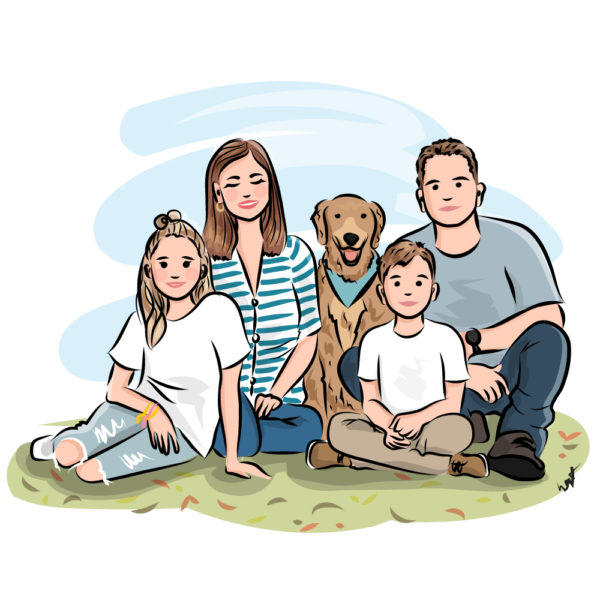Custom illustrated portrait style #1 from $60